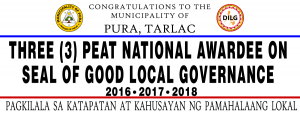 THREE (3) PEAT NATIONAL AWARDEE ON  SEAL OF GOOD LOCAL GOVERNANCE  2016, 2017, 2018